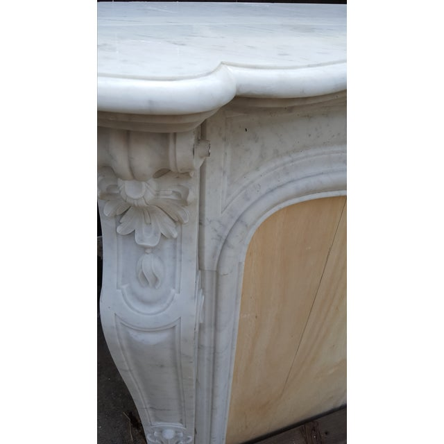 Antique Louis XV Style Carrara Marble Fireplace - Image 3 of 10