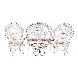 Vintage Wrought Iron Peacock Garden Furniture - Set of 4