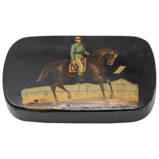 Vintage Black Lacquered Polychrome Scene Hand Painted Box For Sale