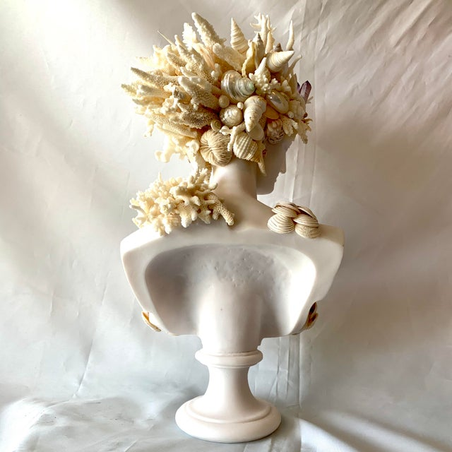 Cast Marble Shell Diana Bust Sculpture For Sale - Image 12 of 13