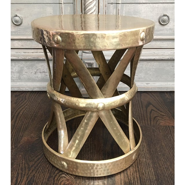 Sarreid Style Modernist Hammered Brass Stool or Table For Sale In Kansas City - Image 6 of 6