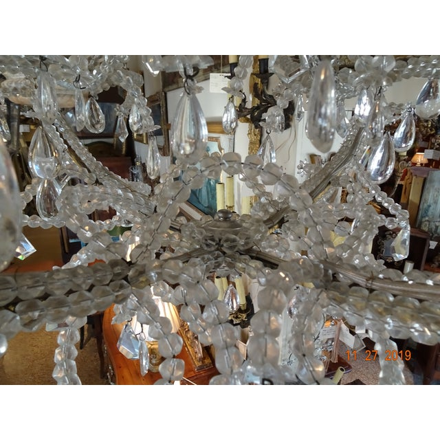 Metal French Crystal Chandelier For Sale - Image 7 of 12