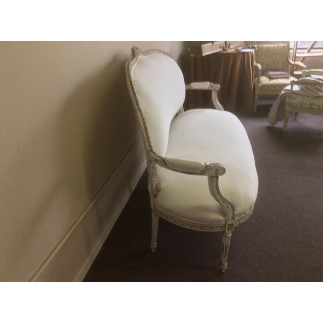 Cottage Antique French Settee With Worn White Painted Finish For Sale - Image 3 of 12