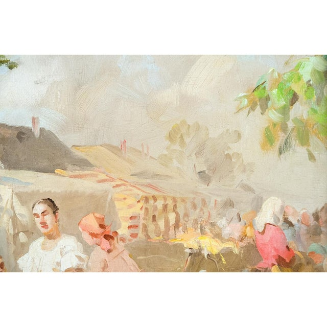 Gyula Nemeth -Women at an Outdoor Market- Hungarian Oil Painting C.1910 For Sale - Image 4 of 8