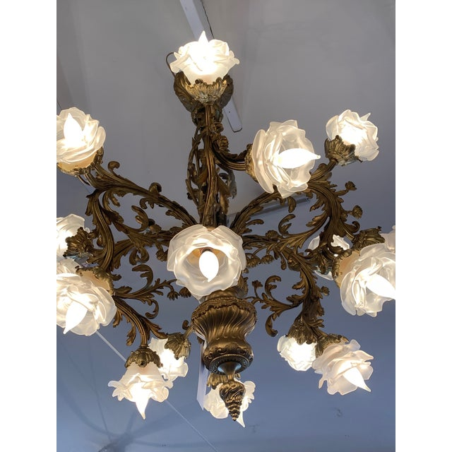 Rococo 18-Light Cast Gilt Bronze Chandelier For Sale - Image 11 of 12