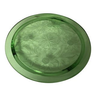 1930s Art Deco Green Uranium Glass Footed Cake Plate
