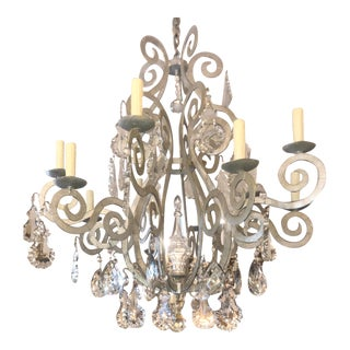 Paul Ferrante Silver Metal & French Crystal Chandelier For Sale