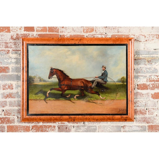 "Framed original 19th century oil painting signed ""J. S. Hill 1866"". The painting depicts the famous trotter ""Dexter"" and..."