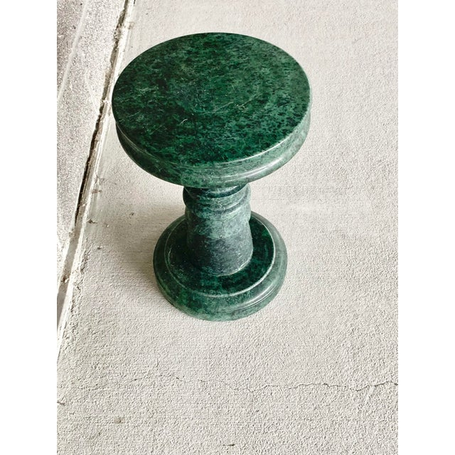 Stone Vintage Green Marble Side Table For Sale - Image 7 of 10