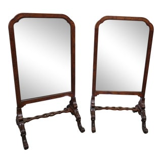 English Carved Walnut Standing Mirrors - A Pair