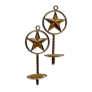 Contemporary Lone Star Western Themed Rustic Iron Candle Sconces & Holder - Set of 3 Preview