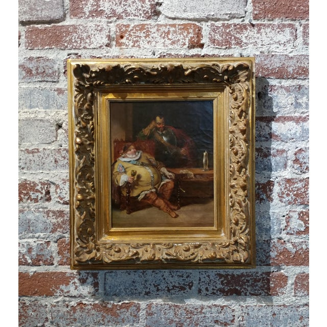 18th century Dutch Oil Painting -Interior scene of Two Nobles Drinking oil painting on canvas -Gild wood Frame note on...
