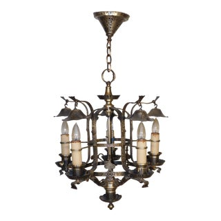 Antique 1920s Arts & Crafts Hammered Pewter Finish 5 Light Chandelier + Snuffers For Sale