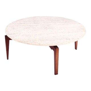 "1950s Mid-Century Modern Jens Risom ""Lazy Susan"" Marble Top Coffee Table"