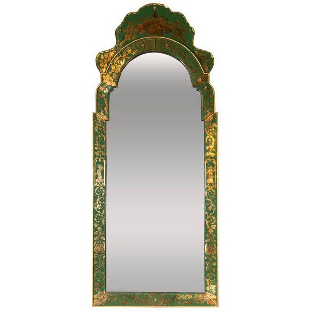 Mid-Century Modern Emerald Reverse Églomisé Mirror With Gilt Detailing For Sale - Image 10 of 10