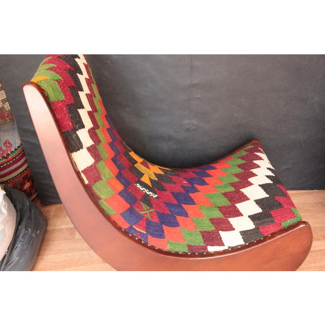 Boho Chic Wood Folding Rocking Chair For Sale - Image 9 of 10