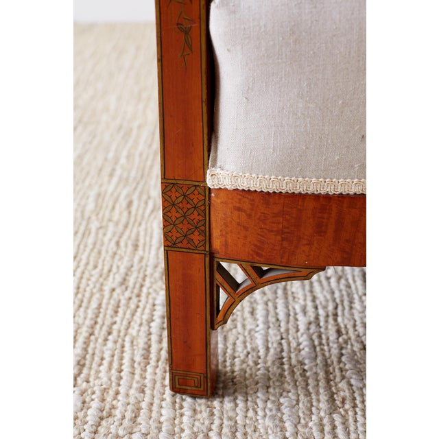 Black English Chinoiserie Chippendale Style Lacquered Armchair For Sale - Image 8 of 13