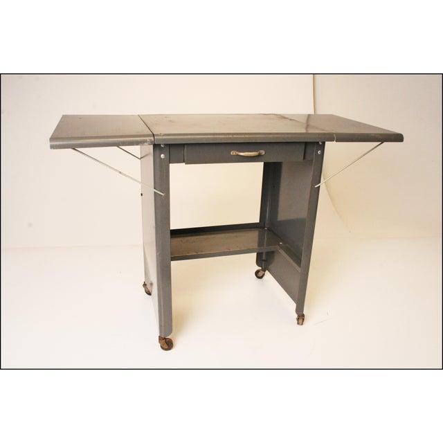 Vintage Cole Steel Industrial Gray Rolling Typewriter Table - Image 2 of 11