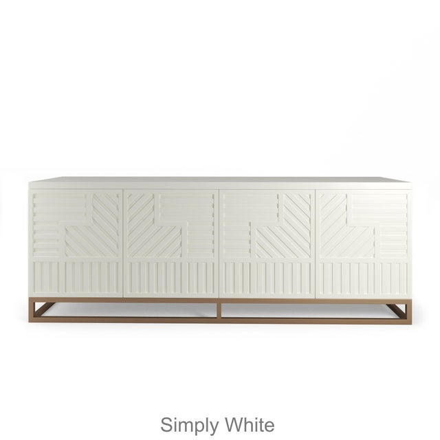 Stria Credenza - Brushed Brass Base, White Open Pore For Sale - Image 4 of 5