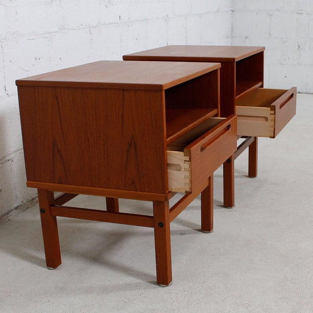 Torring Danish Modern Teak Nightstands/Side Tables - a Pair - Image 4 of 8
