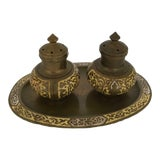 Image of Brass & Enamel Salt & Pepper Shakers with Tray - Set of 3 For Sale