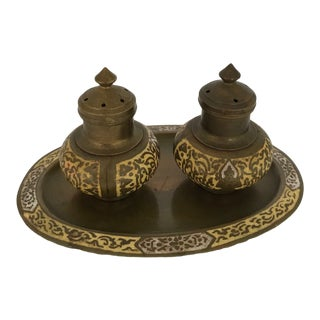 Brass & Enamel Salt & Pepper Shakers with Tray - Set of 3 For Sale