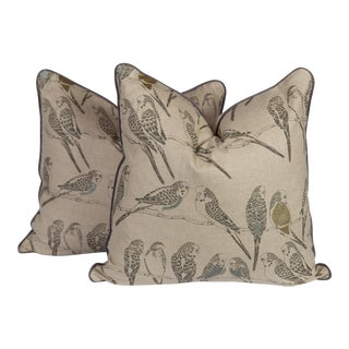 Linen Parakeet Aviary Pillows, a Pair For Sale