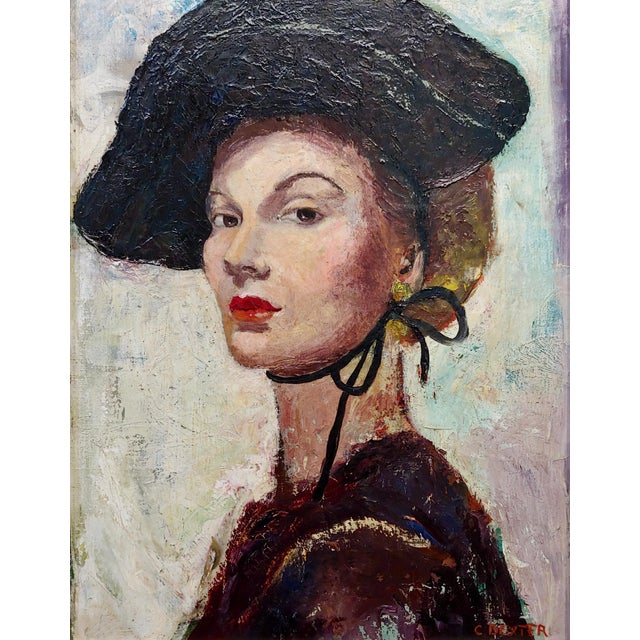 Americana C. Dexter Portrait of a Stylish Woman With Black Hat Oil Painting For Sale - Image 3 of 9
