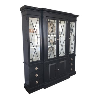 Transitional Black and White Lattice Grill Door China Cabinet For Sale