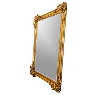 Gold Carved Framed Beveled Mirror For Sale