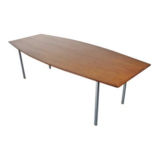 Florence Knoll Walnut and Chrome Conference Table for Knoll For Sale