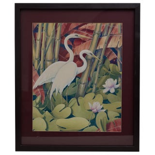 Jessie Hazel Arms Botke 'Attribute' White Cranes Watercolor/Gouache Painting For Sale