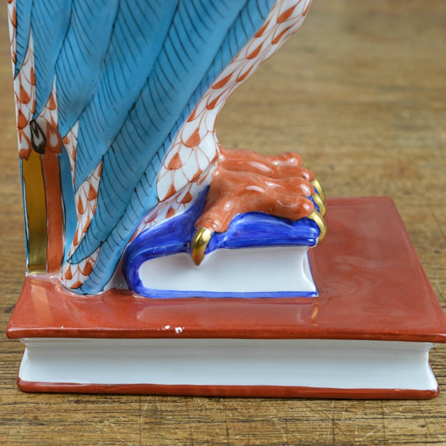 Herend Porcelain Owl on Books, Facing Right For Sale - Image 9 of 11