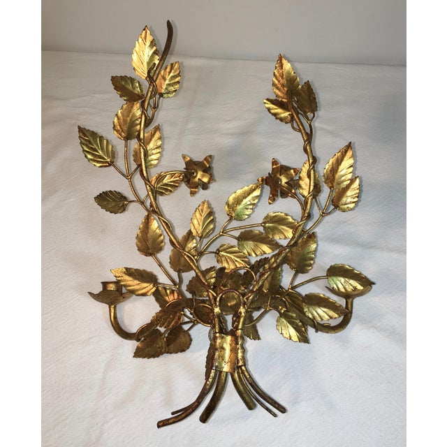 Wall Sconces That Hold Flowers: Mid-Century Floral Wall Sconce Candle Holder