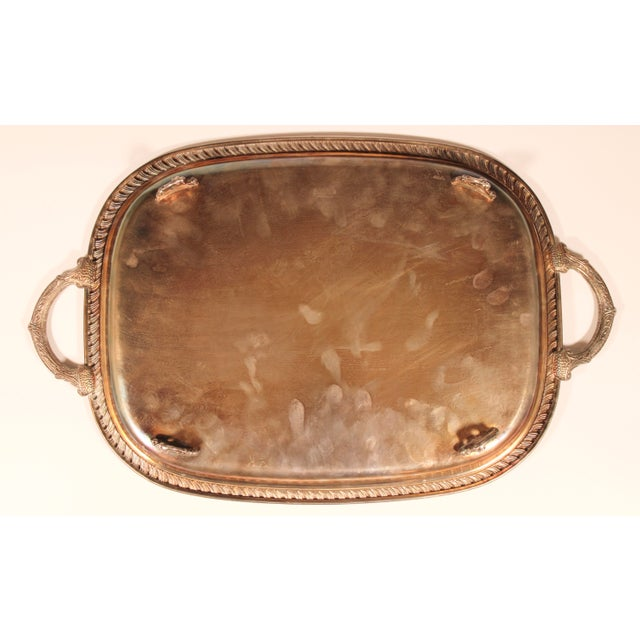 1980s English Silver Plate Footed Serving Tray With Handles For Sale - Image 9 of 11