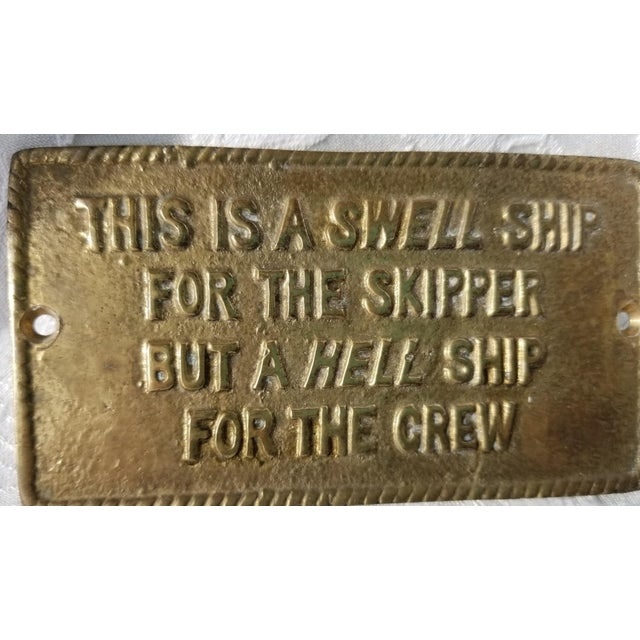 Modern 1970s Vintage Nautical Brass Humor Sign For Sale - Image 3 of 4