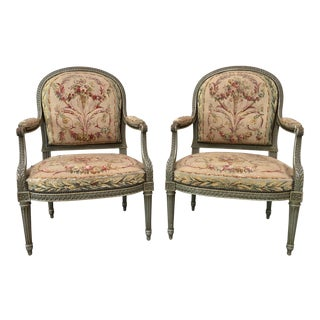 19th Century Louis XVI French Tapestry Arm Chairs - a Pair For Sale