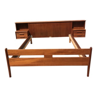 1960s Danish Modern Teakwood Floating Nightstand Double Bedframe For Sale