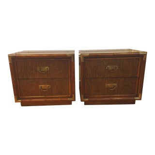Campaign Style Faux Bamboo Nightstands - A Pair