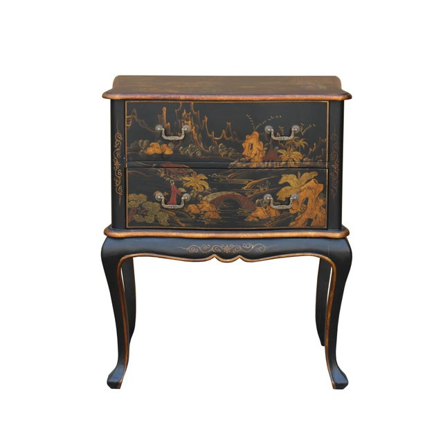 Chinese Oriental Black Gold Lacquer Scenery Graphic Credenza Side Table For Sale - Image 4 of 11