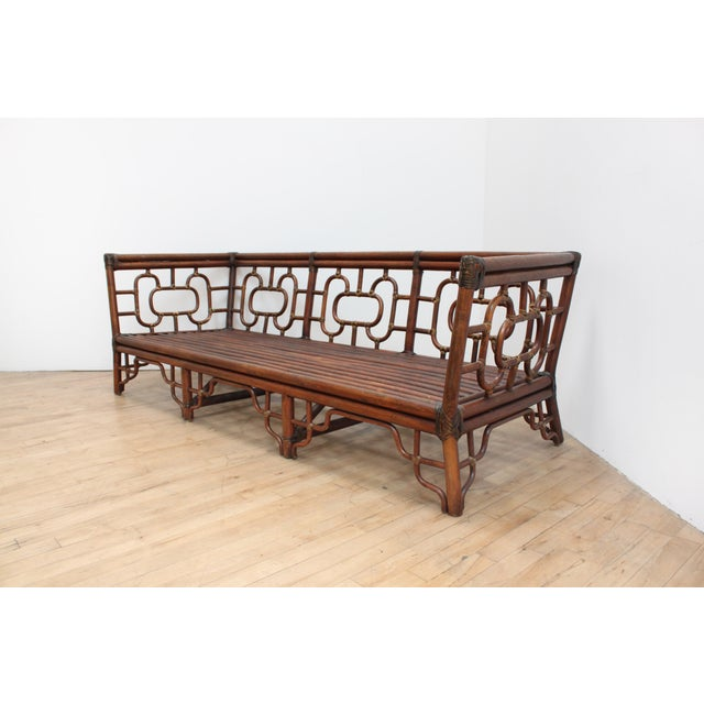 McGuire Chinese Chippendale Bamboo and Leather Sofa For Sale - Image 4 of 10