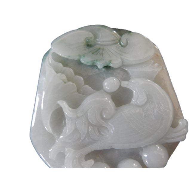 Jadeite Jade Carved Pendant W / Bird - Image 2 of 9