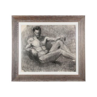 19th Century Antique Nude Male in Repose Charcoal French Academy Drawing For Sale