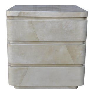 1980s Vintage Goatskin Lacquer 3 Drawer Chest For Sale