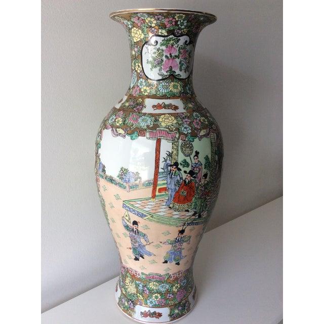 Metal Famille Rose Medallion Style Porcelain Vase For Sale - Image 7 of 11