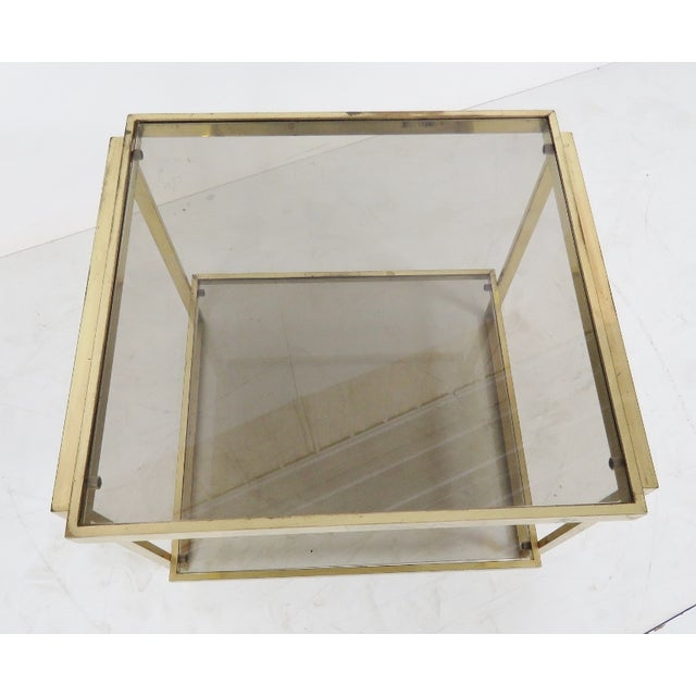 Modern Brass & Smoke Glass Side Table - Image 2 of 3