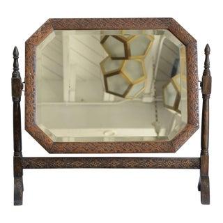 1900s Vintage Carved Oak American Arts & Crafts Vanity Tilt Mirror For Sale