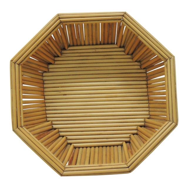 Hexagonal Vintage Bamboo Fruit Bowl or Serving Basket For Sale