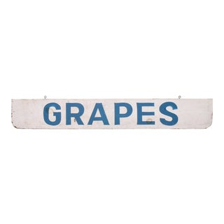 Vintage Grapes Farm Stand Sign For Sale