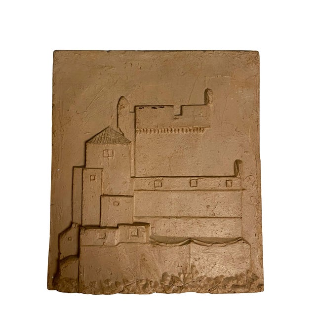 Early 20th Century Vintage Clay Tile With Carved Castle For Sale - Image 5 of 5